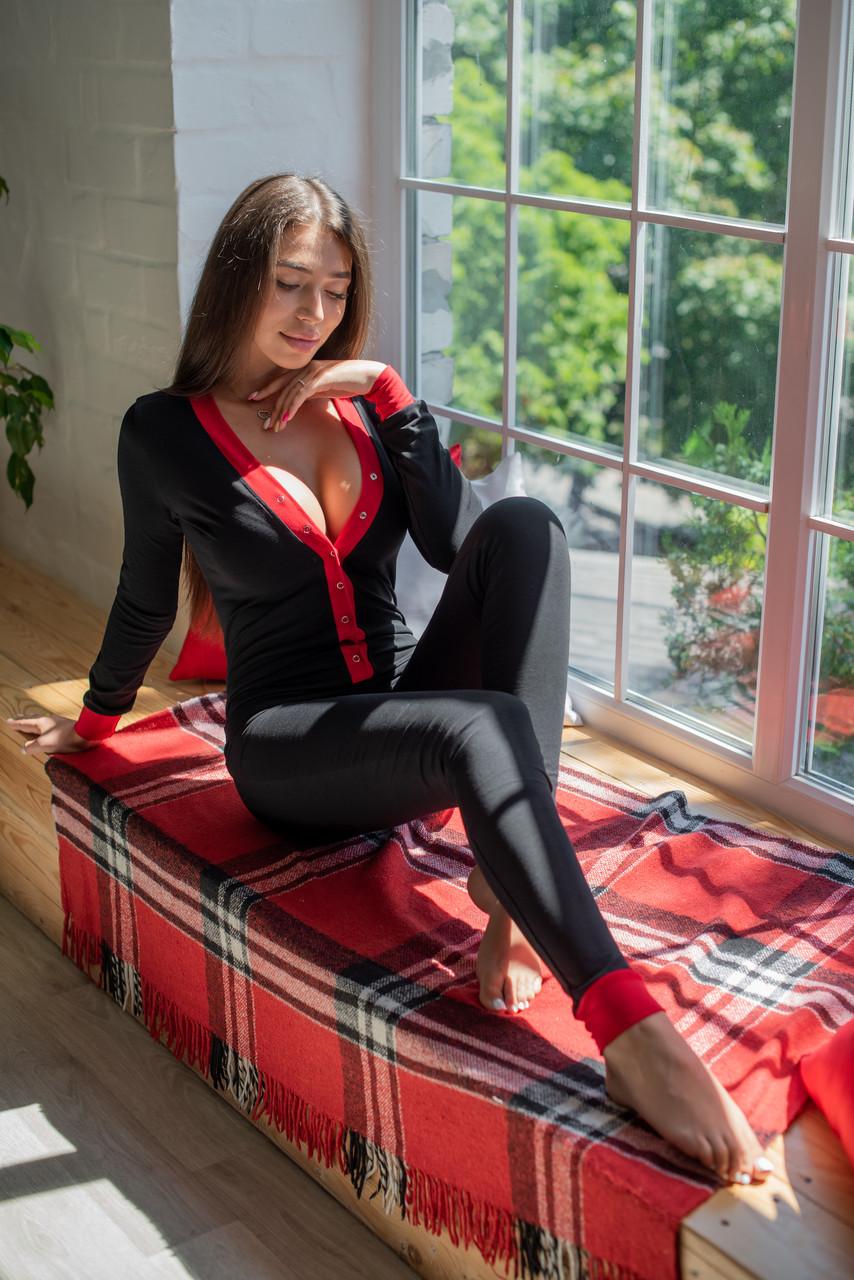 Жіноча піжама комбінезон SweetJama з кишенею на попі попожама чорна No Entry /Виробництво Україна/