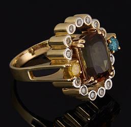 Золоте кільце з діамантами і смарагдом С44Л1№2