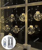 Гирлянда Штора-кульки РОСА 10шт, USB+пульт 2,5м*0,8м. білий тепл
