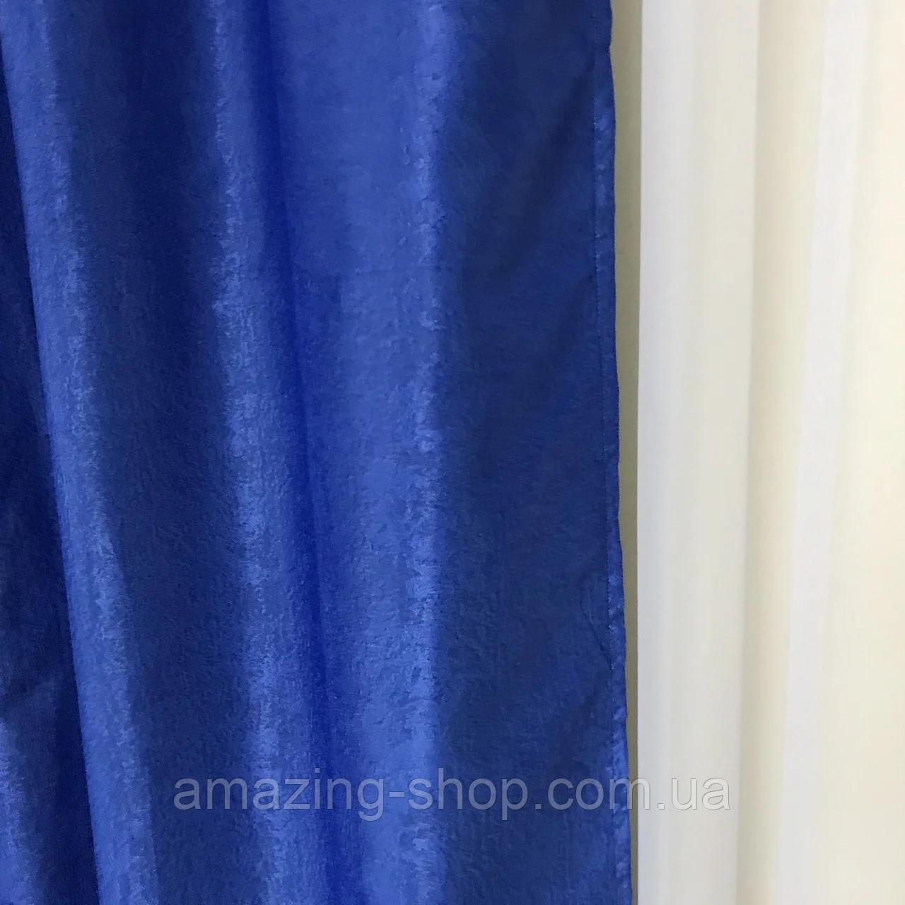 Сонцезахисні штори | Штори льону блекаут софт | Готові штори | 100% захист від сонця | Сині штори |