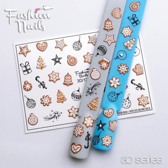 Новорічні наклейки для дизайну нігтів - Об'ємні 3D Зимові Слайдери для манікюру водні Fashion Nails 3D/137