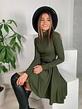 Платье женское с сумочкой чёрный, бежевый, пудра, хаки, серый 42-44,44-46, фото 3