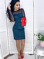 Женское нарядное платье из замша на дайвинге