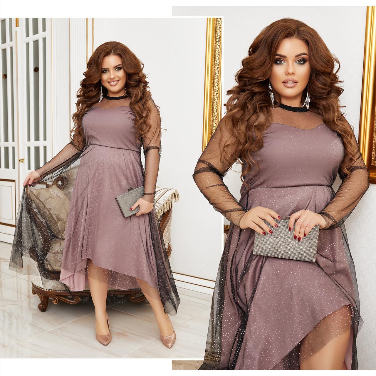 Платье нарядное красивое ассиметричное, батал, разные цвета р.50-52,54-56,58-60 Код 9778Е
