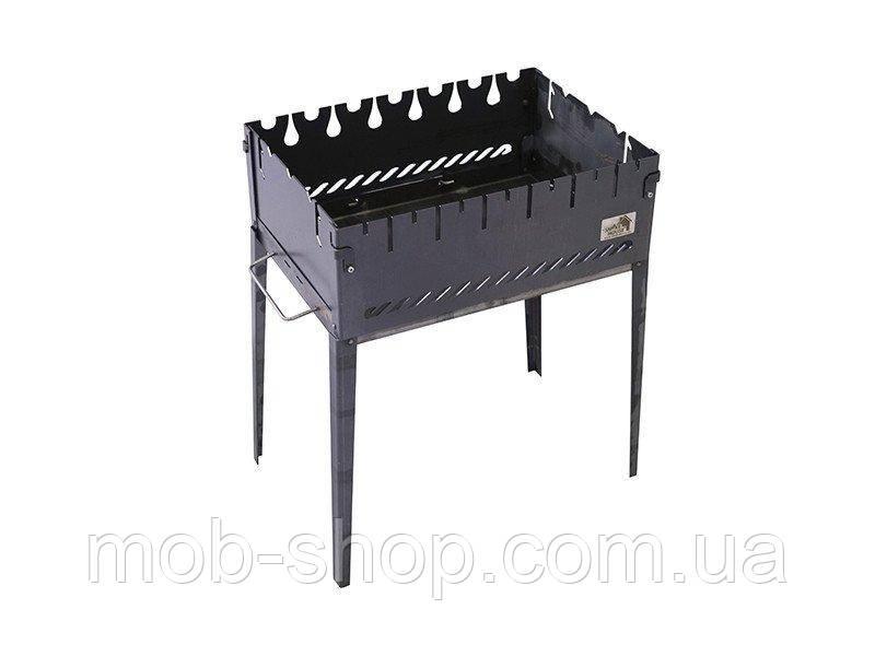Раскладной мангал чемодан на 6 шампуров из черного металла от производителя