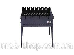 Мангал раскладной чемодан на 6 шампуров из черного металла (уличный домашний мангал для шашлыка)