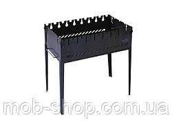Раскладной мангал чемодан на 8 шампуров из черного металла от производителя