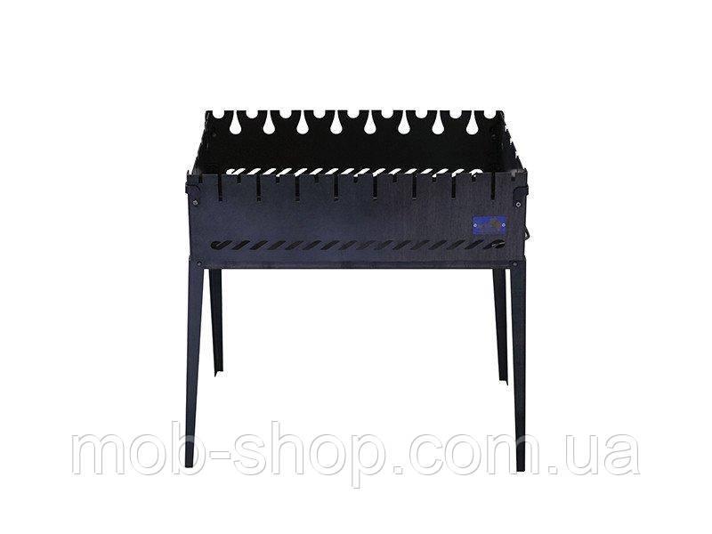 Мангал раскладной чемодан на 8 шампуров из черного металла (уличный домашний мангал для шашлыка)