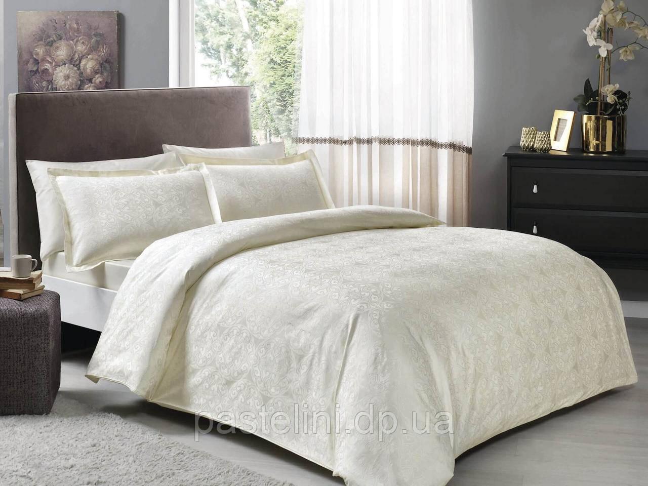 TAC Nodus krem  жаккардовый комплект постельного белья