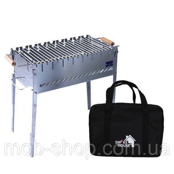 Раскладной мангал чемодан на 8 шампуров из нержавеющей стали с сумкой и решеткой от производителя