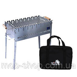 Раскладной мангал чемодан на 8 шампуров из нержавеющей стали с сумкой и решеткой (уличный домашний мангал)