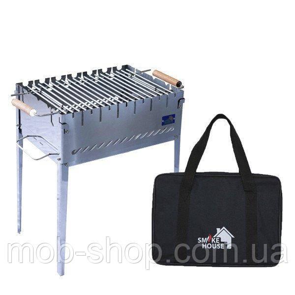 Раскладной мангал чемодан на 6 шампуров из нержавеющей стали с сумкой и решеткой от производителя