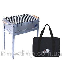 Раскладной мангал чемодан на 6 шампуров из нержавеющей стали с сумкой и решеткой (уличный домашний мангал)