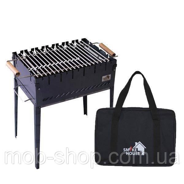 Раскладной мангал чемодан на 6 шампуров из стали с сумкой и решеткой от производителя