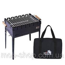 Раскладной мангал чемодан на 6 шампуров из стали с сумкой и решеткой (уличный домашний мангал)