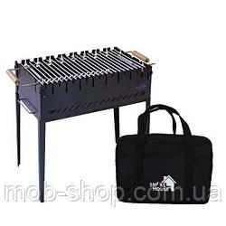 Раскладной мангал чемодан на 8 шампуров из стали с сумкой и решеткой (уличный домашний мангал)