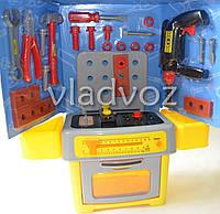Уценка! Детские инструменты музыкальный набор слесарный стол + дрель перфоратор Work Shop