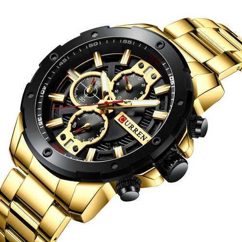 Золотий стильний годинник від фірми Curren 8336 наручний, чоловічий