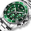 Серебреные мужские наручные часы Megalith 8046M Green кварцевые, фото 6