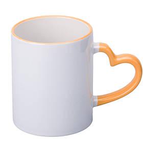 Чашка для сублимации цветной ободок и ручка Love 330 мл (оранжевый)