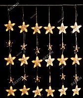 Гирлянда штора-зірочки 40шт, 2,5м*0,8м. білий теплий, фото 1
