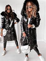 Трендовая женская зимняя куртка моклер прямого фасона с красивым меховым капюшоном С М Л