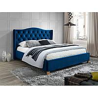 Синяя двуспальная кровать Signal Aspen Velvet 160x200см высоким изголовьем и ортопедическим каркасом