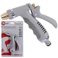 Пистолет—распылитель для полива хромированный с плавной регулировкой потока воды. ABS, PP, TPR, ZINC ALLOY, BR