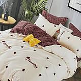Постельное белья Евро размер с простыню на резинке 180х200+20см   Комплект постельного белья Фланель, фото 3