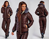 Тёплый женский зимний костюм на синтепоне и овчине куртка и штаны шоколад 42 44 46 48 50 52 54, фото 1