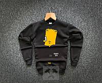 Теплый мужской зимний спортивный свитшот черный: барт / ОСЕНЬ-ЗИМА