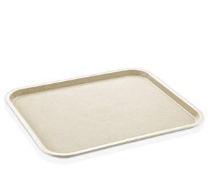 Поднос для столовой 43х36 см поликарбонат прямоугольный молочный Fast Food, GastroPlast