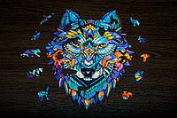 Деревянный пазл Волк +