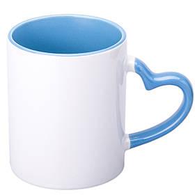 Чашка сублимационная цветная внутри и ручка Love 330 мл (голубой)