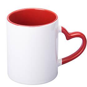 Чашка сублимационная цветная внутри и ручка Love 330 мл (красный)