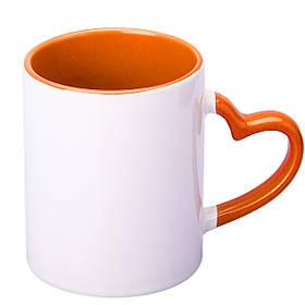 Чашка сублимационная цветная внутри и ручка Love 330 мл (оранжевый)