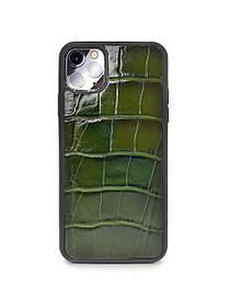 Чехол для iPhone 11 Pro Max зеленого цвета из кожи Крокодила