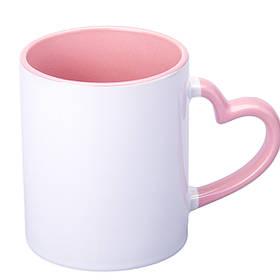 Чашка сублимационная цветная внутри и ручка Love 330 мл (розовый)