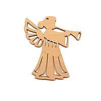 """Деревянная Новогодняя Елочная Игрушка """"Ангел с Трубой"""" 9 см Украшение на Ёлку из Фанеры"""