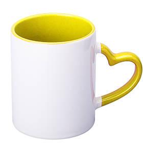 Чашка сублимационная цветная внутри и ручка Love 330 мл (жёлтый)