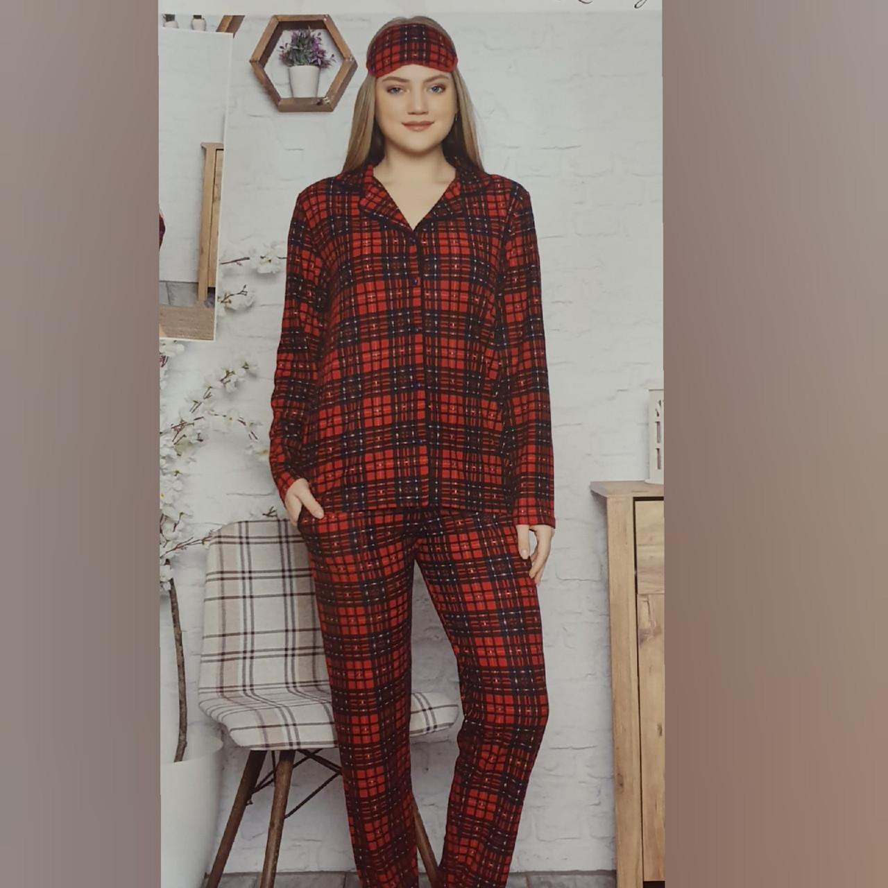 В НАЛИЧИИ! Уютная   женская пижама красная  клетка. Классика.