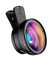 Объектив оптика широкий + макро линза для телефона на iphone смартфона черная 2в1 APEXEL Premium