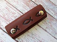 Ключница с карабинами Рыбка коричневая, фото 1