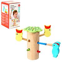 Детская развивающая деревянная настольная игра Монтессори накорми птенца на магнитах