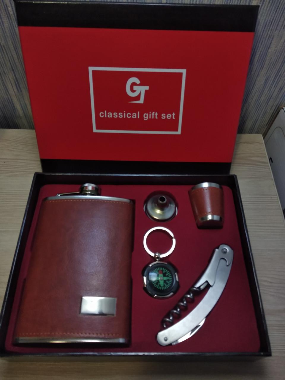 Подарочный набор фляга / лейка / стопка / нож (Кожа)
