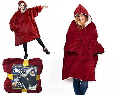 Толстовка-плед с капюшоном Huggle Ultra Plush Blanket Hoodie Красный 183997