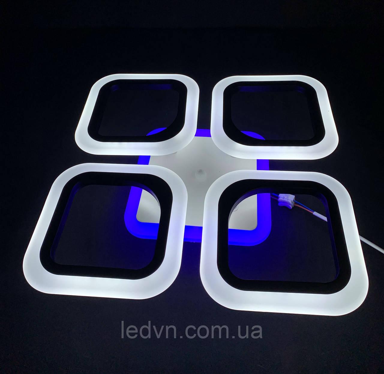 Светодиодная  люстра на 4 квадрата черная 55 ватт