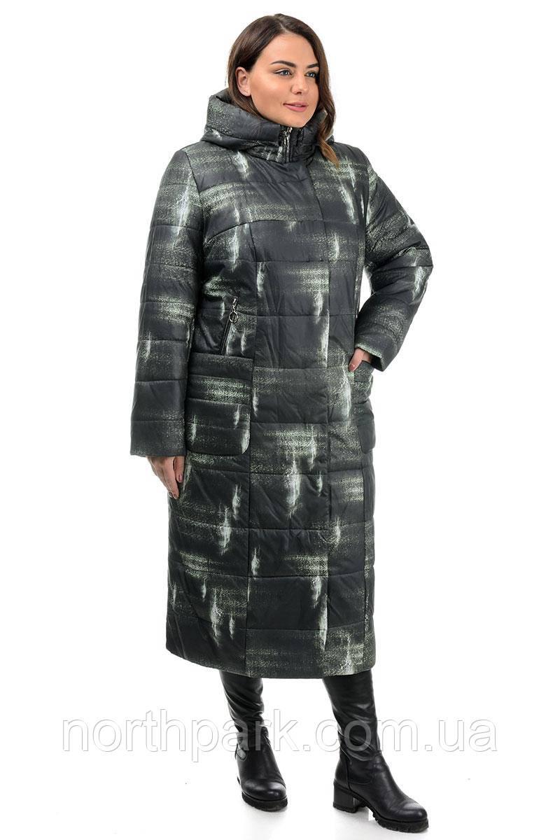 Пальто Valleo 00189 черное, принт 46-56