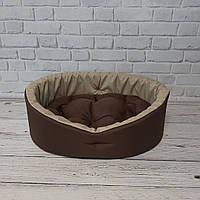 Мягкий лежак для собак и котов, Спальные места для домашних животных, Коричневый с бежевым