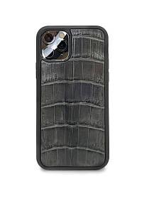 Чехол для iPhone 11 Pro серого цвета из кожи Крокодила
